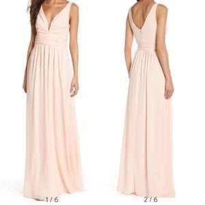 Lulus Blush Pink Maxi Bridesmaid Chiffon Dress